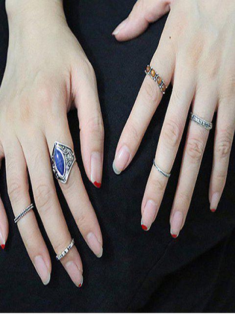 chic Carved Faux Gem Ring Set - DEEP BLUE  Mobile