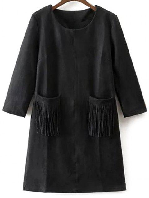 fashion Fringed Pockets Faux Suede Dress - BLACK M Mobile