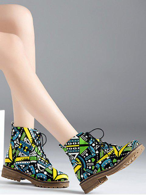 trendy Patchwork Flat Heel Tie Up Ankle Boots - JADE GREEN 38 Mobile