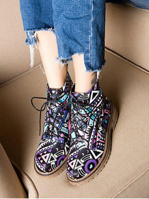 fashion Patchwork Flat Heel Tie Up Ankle Boots - LAKE BLUE 39 Mobile