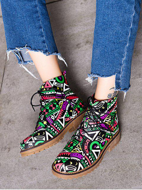 unique Patchwork Flat Heel Tie Up Ankle Boots - WATERMELON RED 39 Mobile