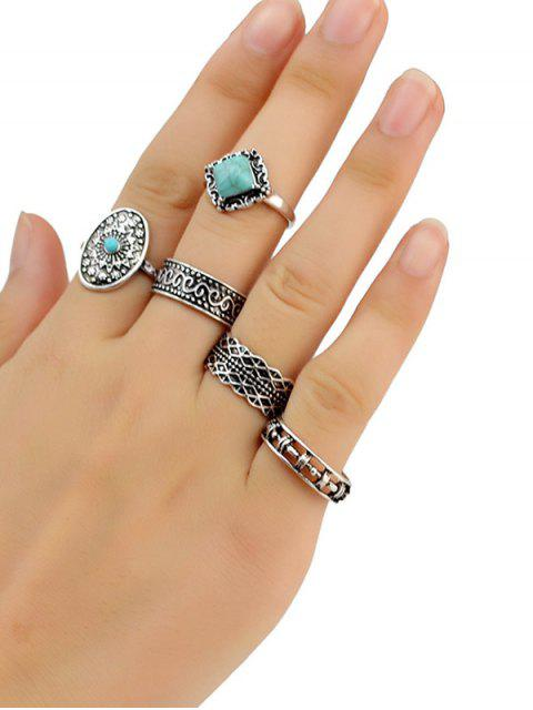 outfits Medallion Carved Ring Set - SILVER  Mobile