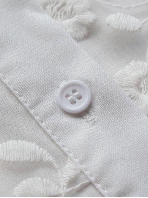 Chemisier brodé boutonné col chemise - Blanc S Mobile