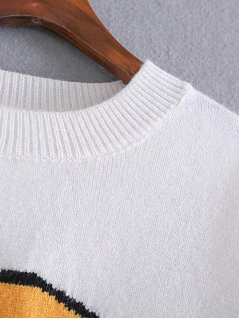 fashion Fruit Jacquard Side Slit Sweater - WHITE ONE SIZE Mobile