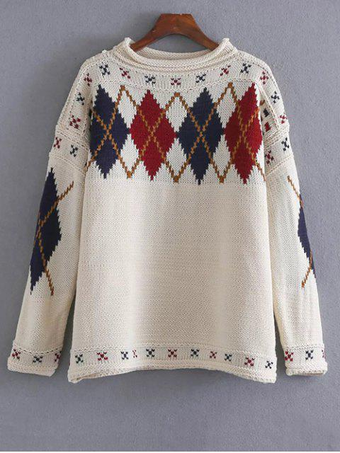new Argyle Jacquard Sweater - OFF-WHITE ONE SIZE Mobile