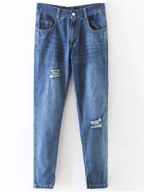 latest Distressed Pockets Jeans - LIGHT BLUE M Mobile