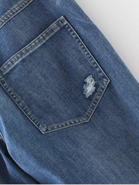 trendy Distressed Pockets Jeans - LIGHT BLUE S Mobile