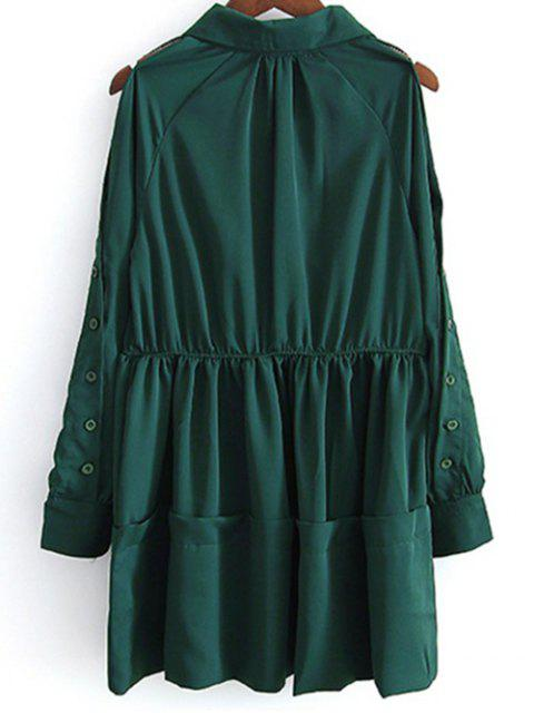 ladies Shirt Collar Cut Out Long Sleeve Dress - GREEN M Mobile
