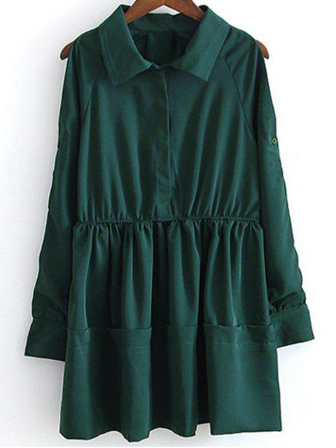 lady Shirt Collar Cut Out Long Sleeve Dress - GREEN S Mobile