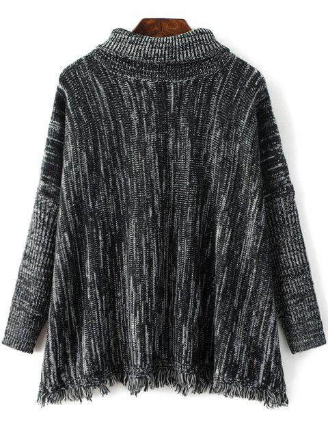 hot Space Dyed Turtle Neck Tassel Sweater - BLACK GREY ONE SIZE Mobile