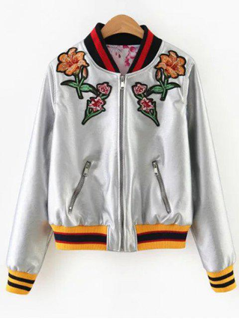 ladies Embroidered Metal Colour PU Leather Jacket - SILVER S Mobile
