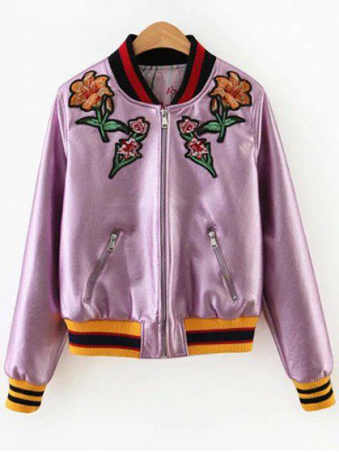 lady Embroidered Metal Colour PU Leather Jacket - PINK L Mobile