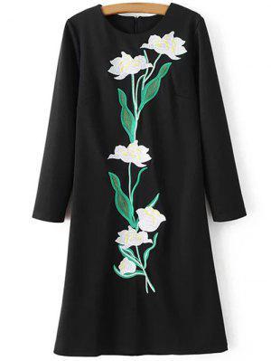 Vestido Tubo Floral Bordado - Negro S