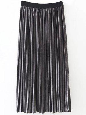 Pleated Velvet Skirt - Deep Gray
