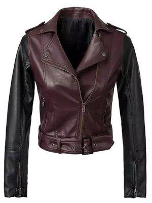 Color Block PU Leather Zippered Biker Jacket - Wine Red S