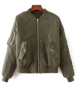 Rhinestoned Patched Jacket - Army Green M