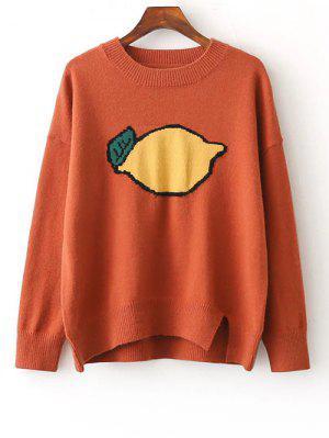 Fruit Jacquard Side Slit Sweater - Jacinth