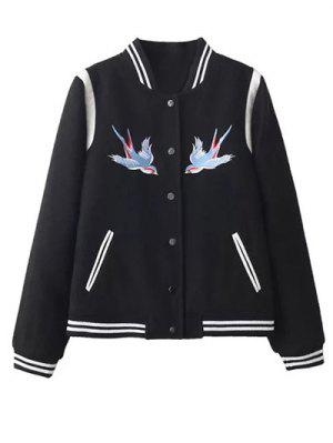Snap Button Embroidered Baseball Jacket - Black L