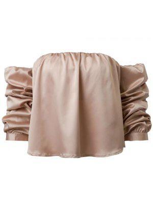 Puff Luva Off The Shoulder Blusa - Caqui S
