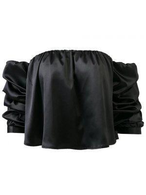 Puff Luva Off The Shoulder Blusa - Preto S