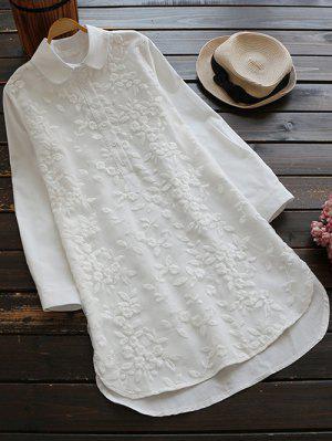 Abotoado Blusa Bordada - Branco L