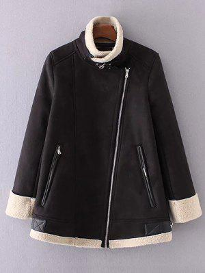 Fleece Lining Faux Suede Funnel Coat - Black M
