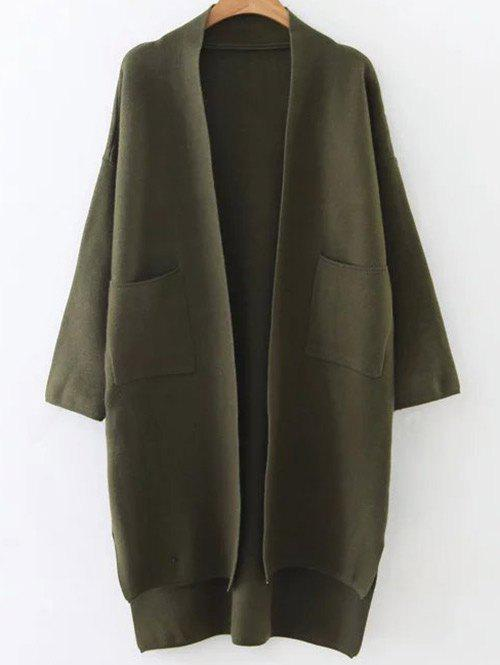 Collarless High Low Pockets Cardigan - ARMY GREEN ONE SIZE