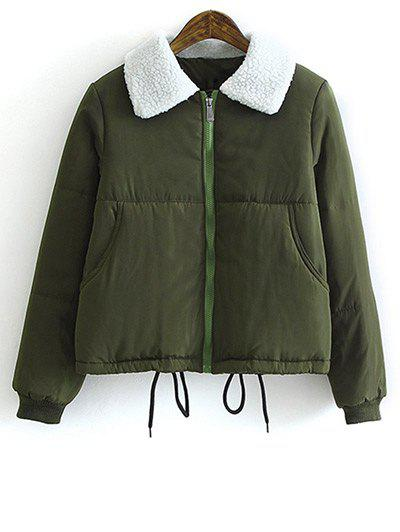Drawstring Lamb Wool Collar Padded Coat, Army green