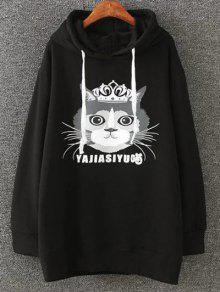 Plus Size Fleece Cartoon Cat Print Hoodie - Black 4xl