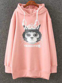 Plus Size Fleece Cartoon Cat Print Hoodie - Pink 4xl