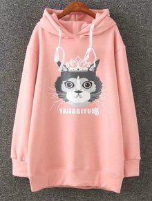 Plus Size Fleece Cartoon Cat Print Hoodie - Pink 2xl