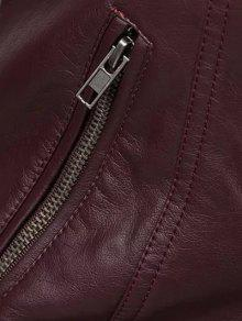 2019 Color Block Pu Leather Zippered Biker Jacket In Wine Red S Zaful