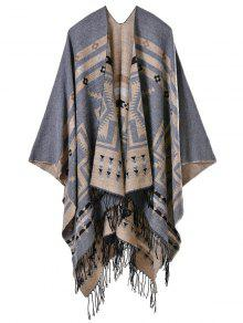Geometry Open Front Tassel Pashmina Scarf - Gray