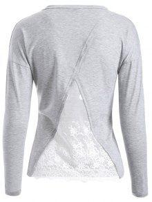 Back Lace Spliced T-Shirt - Light Gray S