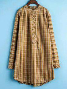 Plaid Buttoned Long Sleeve Dress - Yellow Xl