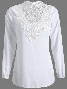 Buy Long Sleeve Lace Spliced Top M WHITE