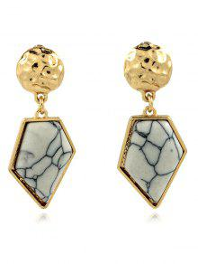 Faux Turquoise Irregular Geometric Earrings - White