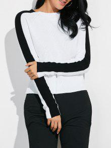 Sweater Color Block Ras Du Cou - Blanc M