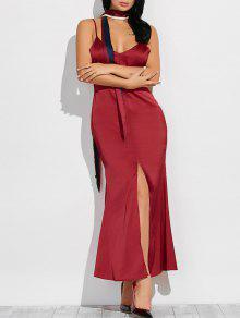 Cami High Furcal Maxi Dress - Wine Red S