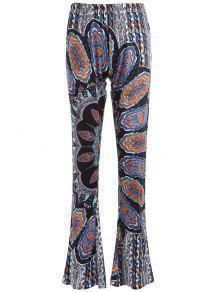 Pantalones Llamarada Impresos - Cian Y Gris Xl