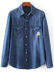 Floral Emboidered Denim Shirt - Blue M