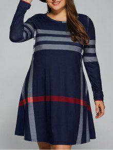 Vertical Plus Size Striped Tee Dress - Purplish Blue 2xl
