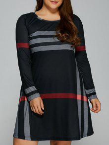 Robe Chemise à Rayures Verticales Grande Taille - Noir 2xl