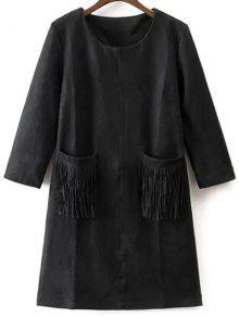 Robe En Suédine Synthétique Avec Poches Frangées - Noir S