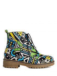 Buy Patchwork Flat Heel Tie Ankle Boots 38 JADE GREEN