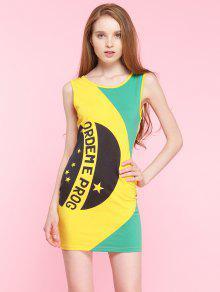 Vestido Al Cuerpo Sin Mangas Bloque Color Y Letras - Amarillo M