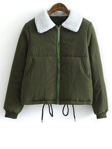 Manteau Matelassé à Glissière Avec Encolure Retournée En Peau De Mouton - Vert Armée L