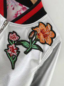 1fe6aa4a14 37% OFF  2019 Embroidered Metal Colour PU Leather Jacket In SILVER S ...