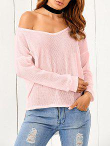 Loose One-Shoulder Sweater - Pink M