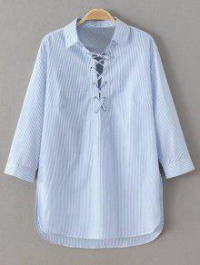 Long Sleeve Striped Lace Up Blouse - Blue And White S
